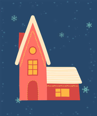 Greeting card for Christmas and New Year with cute pink gingerbread house