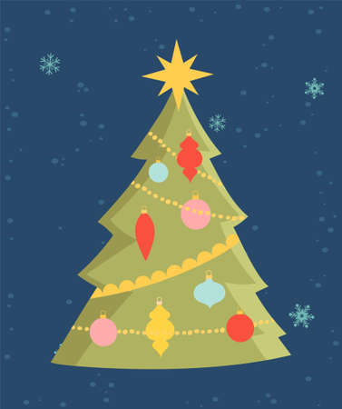 Greeting card for Christmas and New Year with cute little christmas tree
