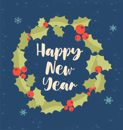 Greeting card for Christmas and New Year with cute happy new year handwriting