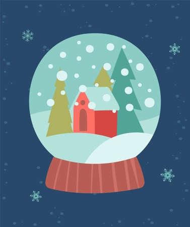 Greeting card for Christmas and New Year with little christmas house in a ball Vectores