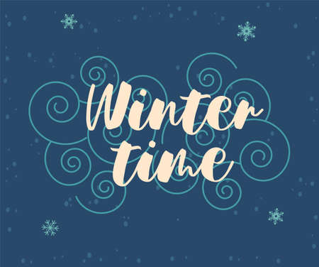 Greeting card for Christmas and New Year with cute winter time handwriting