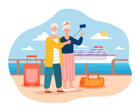 Elderly couple is going to sea cruise by ferry