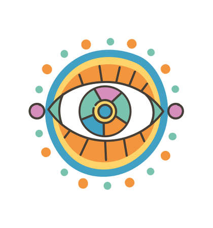 Colorful eye talisman as an occultism and prophecy sacred symbol Ilustración de vector