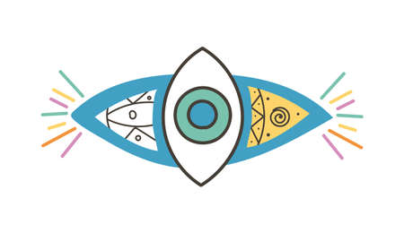 Colorful eye talisman as an occultism and prophecy sacred symbol