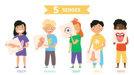 Funny five Senses concept with human organs Ilustración de vector