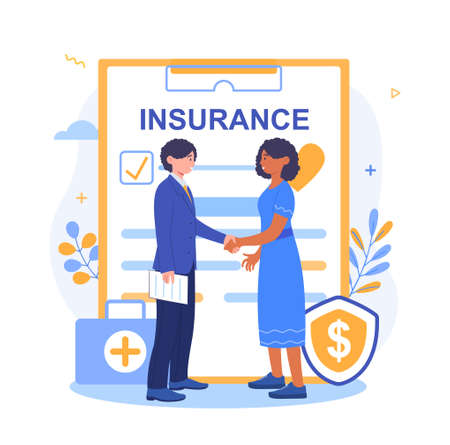 Health insurance agent shaking hands after signing
