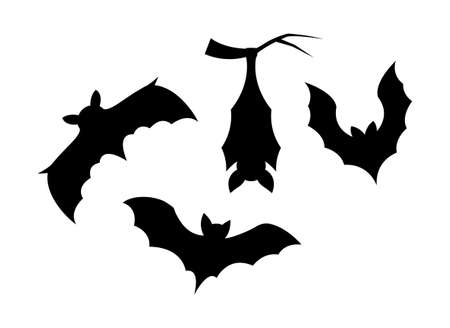 Silhouette elements of bats on white background