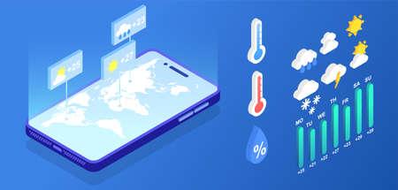 Isometric weather forecast application elements