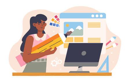 Designer illustrator in design studio working Vecteurs