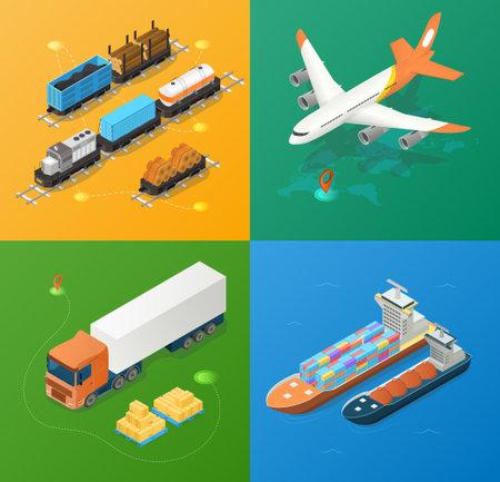 Freight industry logistics and transportation Векторная Иллюстрация