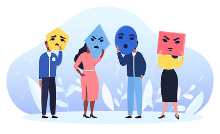 Group of people holding colorful masks with different emotions