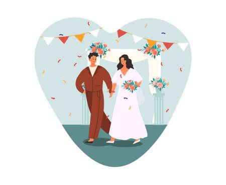 Bride and groom walk to wedding ceremony. Vetores