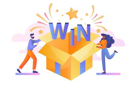 Open box win textured with confetti explosion Vektorgrafik