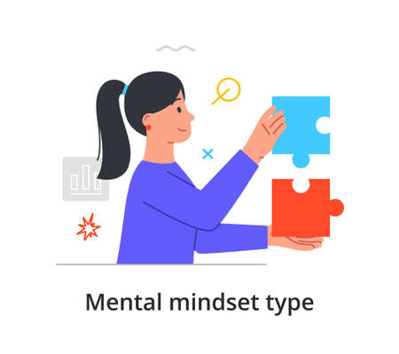 Mental mindset type with woman with logistical mind