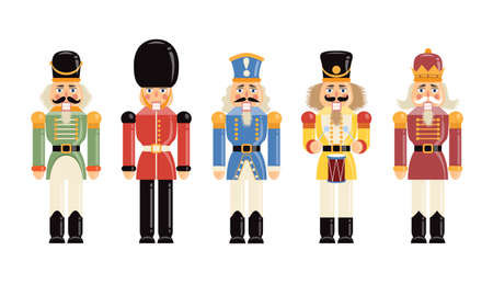 Funny figurines soldiers of various historical periods