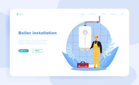 Smiling male plumber in overall is installing water heater or boiler