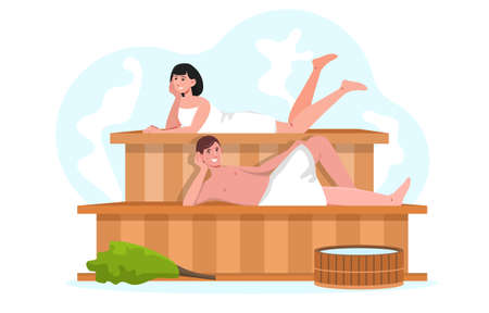 Young smiling male and female characters are spending time in sauna together