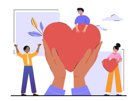 Charity and volunteering activity concept Vector Illustration