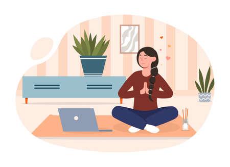 Meditative practice concept Vektorové ilustrace