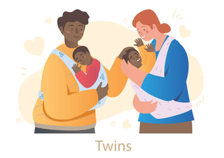 Male and female characters are holding newborn twins in slings on white background Ilustración de vector