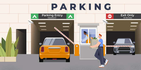 Car is driving through entrance with barrier on underground parking