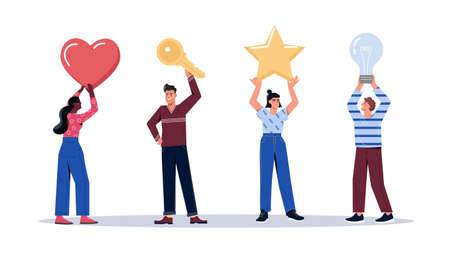 Set of people holding big colorful objets over their head Illustration