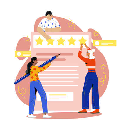 Young man and women are creating reviews together Illustration