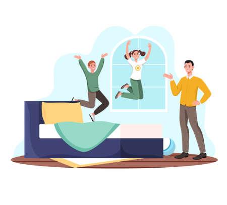 Children jump on bed Illustration