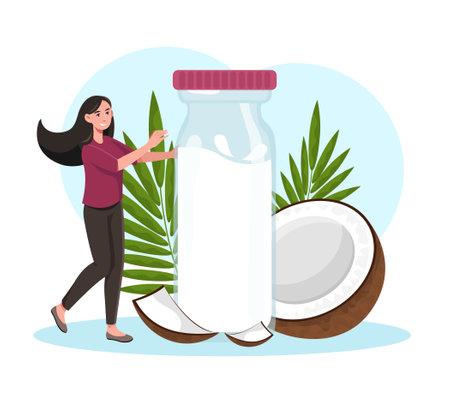 Woman with coconut milk Illustration