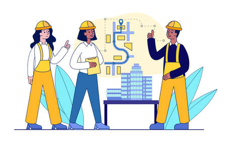Workers at construction plan Illustration