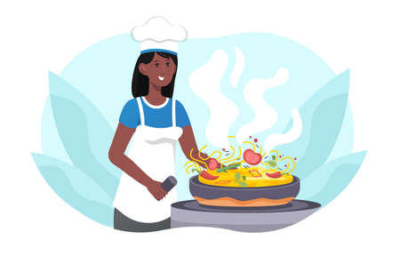 African woman cooking noodles Illustration