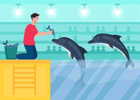 Employee feeds dolphins Illustration
