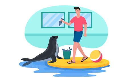 Walrus performs at dolphinarium Illustration