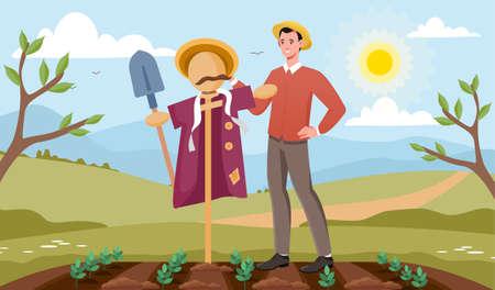 Gardener makes scarecrow concept Illustration