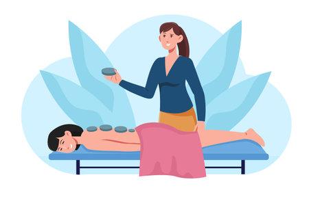 Hot stone massage concept