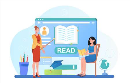 Student Learning Online concept Illustration