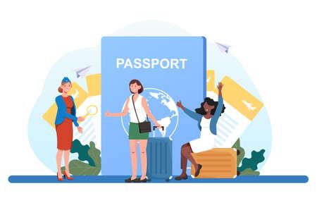 Conductor checks passport of tourists