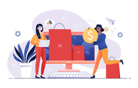 Shopping at home concept Illustration