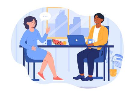 Lunch in office concept Illustration