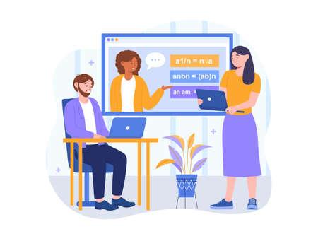 Online math courses concept Illustration