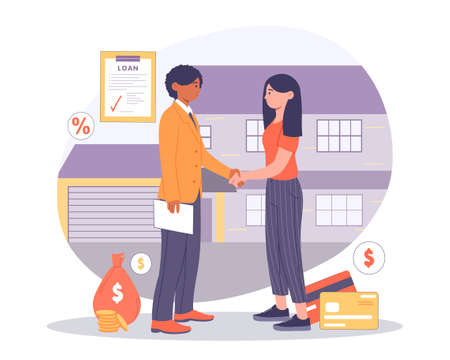 Buying House on Credit concept Illustration
