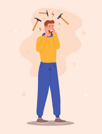 Experiencing headache concept Illustration