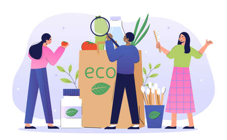 Shopping with eco friendly bag concept