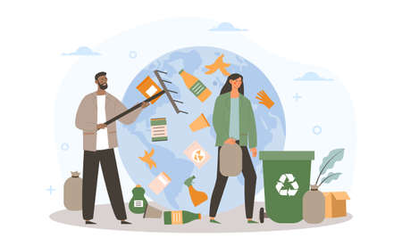 Earth cleaning from garbage concept