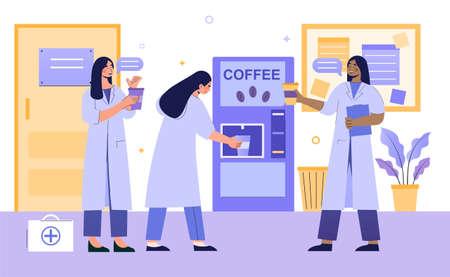 Medics on coffee break Illustration