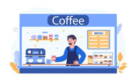 Barista making coffee concept