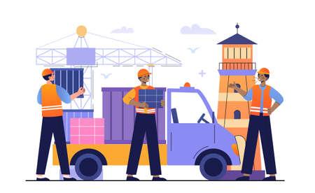 Seaport Loading Cargo concept