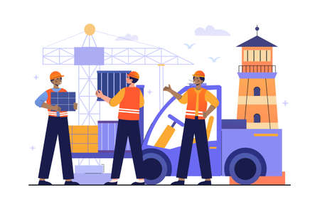 Logistics company in port concept Illustration