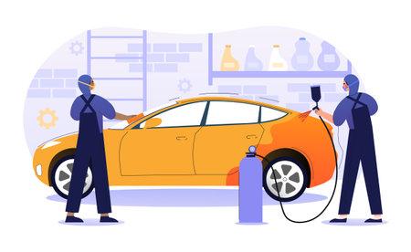 Car paint repair service concept Illustration