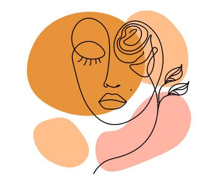 Modern line minimalistic woman face